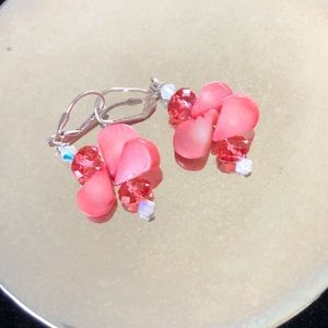 Jewelry - Coral earrings with Swarovski crystals-pierced ear